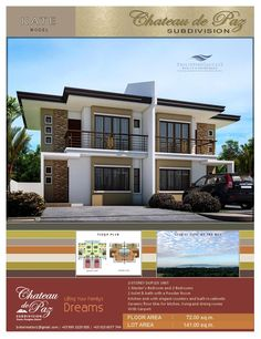 A Modern Asian Architectural Designed duplex unit with a Master's bedroom, 2 bedrooms, 1 toilet and bath, a powder room and a provision for carport. Lot area is 141 sq. land with a floor area of 72 sq. Philippine Houses, Bohol Philippines, Small Balcony Decor, Townhouse Designs, Modern Asian, Built In Cabinets, Family Kitchen, Kate Model, House Plans