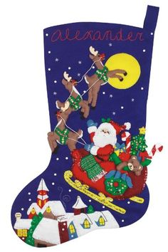 Janlynn Felt Appliqué Kit, 23-Inch by 10-Inch, Over the Rooftops Large Stocking:Amazon:Arts, Crafts & Sewing