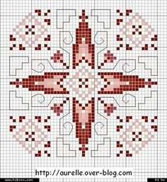 Biscornu pattern... no color chart available, just use pattern chart as your color guide.. or choose your own colors...