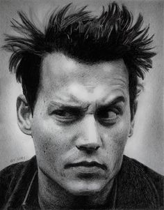 Johnny Depp pencil portrait, via Flickr.