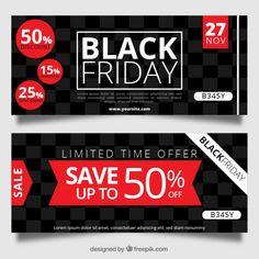 Black Friday banners com quadrados Vetor grátis
