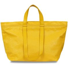 Balenciaga Medium Tote ($1,225) ❤ liked on Polyvore featuring bags, handbags, tote bags, balenciaga handbags, balenciaga purse, yellow handbags, yellow purse and balenciaga tote