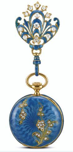 Art Nouveau Brooch/ Pendant pocket watch by Tiffany & Co ca.1905