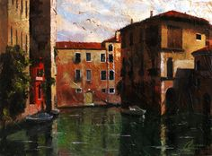 """Venice, Italy, Quiet Reflections – original oil Italy painting by Christopher Clark, fine artist <span class=""""edit-link btn btn-inverse btn-mini""""><a class=""""post-edit-link"""" href=""""http://www.christopherclark.com/wp-admin/post.php?post=6950&action=edit"""" title=""""Edit"""">Edit</a></span>"""