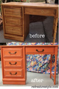 Orange Desk! Maybe paint top and drawers dark blue.