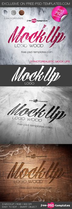 3 Free Logo Mock-up in PSD | Free PSD Templates