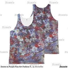'Daisies in Purple' Fine Art Fashion Tank Top All-Over Print Tank Top from the rigianl painting by Avonelle Kelsey
