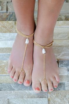 White Round Faux Stone Beach Barefoot Sandals Need to make these!!!