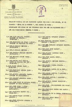 Lista de asesinados en el túnel de Usera (l) fuente PARES