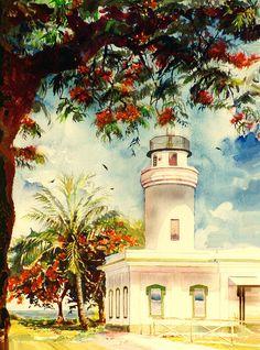 Estela Robles   WATERCOLOR     Borinquen Lighthouse Aguadilla Puerto Rico