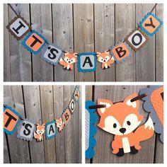 IT'S A BOY Fox Banner  Fox Shower Banner  Fox Themed