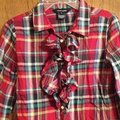 Girls plaid blouse Very pretty brand new never worn, girls size 12free gift with purchase, check the monogram in my closet Ralph Lauren Tops Blouses