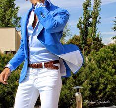 Light blue jacket silk&linen by Absolute Bespoke www.absolutebespoke.com