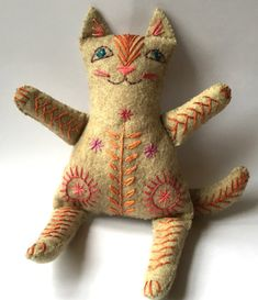 Embroidered Felt Cat Family to make by NancyNicholsonDesign