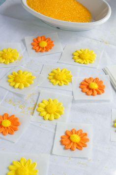 How to make a Simple Icing Daisy via www.thebearfootbaker.com