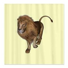 #Male #Lion #Shower #Curtain  3D digital render of a lion on white background
