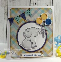 Card using Gina K Designs It's The Little Things stamp set, designed by Michelle Woerner #baby card