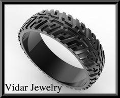 Black Gold Tire Tread Men's Wedding Ring