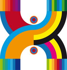 Typography: a cmyk X in rainbow style