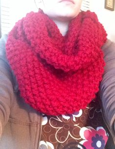 Scarf #2! 20 less stitches, and 2 less inches made a big difference!  111 stitches, seed stitch for 10 inches. Knitted in the round on US 13 needles. Used: lion brand wool ease thick and quick (3 at 106 yards each) color- cranberry.