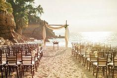 Scenic beach wedding set up #barcelona #beachwedding