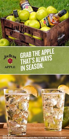 Try this Apple cocktail recipe for a refreshingly crisp taste. Mix 1 part Jim Beam® Apple with 2 parts club soda and garnish with a lemon wedge.  Jim Beam® Apple, Apple Liqueur infused with Kentucky Straight Bourbon Whiskey, 35% Alc./Vol. ©2017 James B. Beam Distilling Co., Clermont, KY