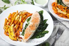 Broiled Salmon with Vegetable Fries and Yogurt-Garlic Dip How To Wash Vegetables, Fried Vegetables, Healthy Vegetables, Healthy Fats, Healthy Eating, Healthy Recipes, Steak Braten, Chou Rave, Garlic Dip