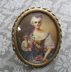 Antique Sterling Silver Hand Painted Brooch Victorian Lady With Flower Miniature Pin Jewelry
