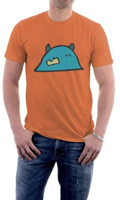 cfa260acfde Items similar to Mens tshirt in orange - monster character print on Etsy