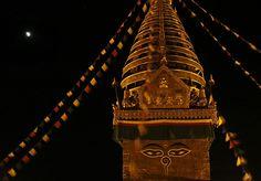 Credit: Binod Joshi/AP The eclipse seen above the Swayambhunath Stupa in Katmandu, Nepal