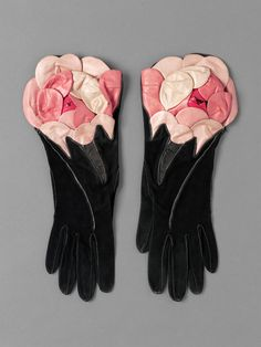 Floral Leather Gloves