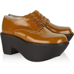 60% Off was $465, now is $186! Jil Sander Navy Patent-leather platform brogues