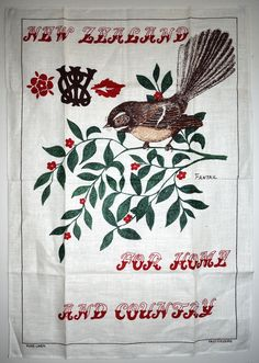 CWI New Zealand Tea Towel - Vintage Country Women's Institute Fantail Birds - New! Vintage Birds, Retro Vintage, Vintage Items, Womens Institute, Moving Boxes, Country Women, Vintage Country, Tea Towels, New Zealand
