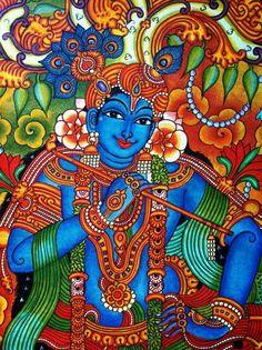 Kerala mural at its best Saree Painting, Kerala Mural Painting, Krishna Painting, Madhubani Painting, Krishna Art, Baby Krishna, Shree Krishna, Radhe Krishna, Lord Krishna