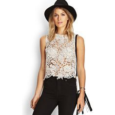 Forever 21 Women's  Metallic Crochet Floral Top ($33) ❤ liked on Polyvore featuring tops, forever 21, sheer crochet top, floral crochet top, floral top and scalloped top