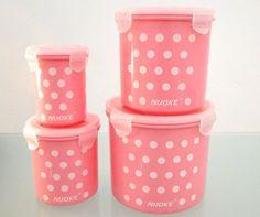 conjunto de 4 potes multiuso para cozinha rosa