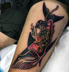 Awesome Mens Manly Traditional Shark And Pirate Tattoo On Thigh
