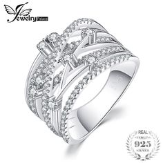 Beautiful Band Cocktail Ring For Women Genuine 925 Sterling Silver Wedding  Jewelry Gift Jewelry Party, 07f69bc758