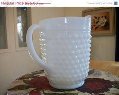 Large Milk Glass  Hob Nail Pitcher Margritas or by DresstheTable