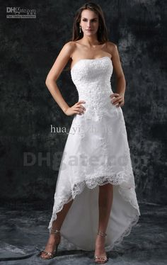 Wholesale Short Beach wedding dresses front short and long back wedding dress A Line High Low Bridal Strapless Beaded Lace Tulle Summer Dresses 1142, Free shipping, $112.0-128.8/Piece | DHgate