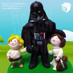 Star Wars Fathers Day Cake Toppers_Darth Vader_Little Boy_Luke Skywalker_Little Girl_Princess Leia Organa_Baby_Geek_Geeky_Wookie Doll_Chewbacca