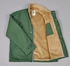 Sierra Designs Polartec Navy Deck Jacket in green/tan $380! looks cozy
