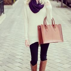 Cute outfit with sweater, leggings, scarf and boots