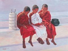 Young Novices Reading by Aung Kyaw Htet, oils