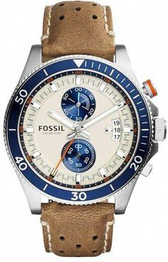ca0a92e3940 Fossil  Wakefield  Chronograph Leather Strap Watch