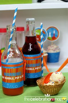 science party soda labels