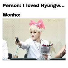 Hyungwon, Kihyun, Shownu, Jooheon, Cute Memes, Funny Memes, Yandere, K Pop, Monsta X Funny