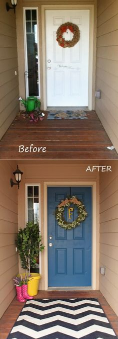 Decorating the outside of the front door. this is classic.... its perfect for a normal door turned into a welcoming door :)