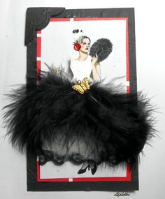 Skinny Card - Mirror, Mirror My first skinny card ever! Black Card Stock, red and white scrapbook paper, black feathers, white feathers, black lace, black and white feather, red jewels, gold butterfly, black photo corner.