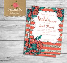 New to DesignedbyDaniN on Etsy: Bridal Shower party invitation coral and silver glitter bridal invite engagement floral shabby and elegant party printable (15.00 USD)